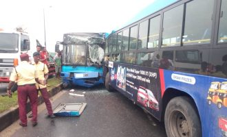 PHOTOS: Many injured as BRT buses collide in Lagos