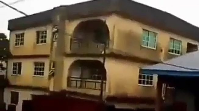 VIDEO: The moment a two-storey building caved in at Onitsha