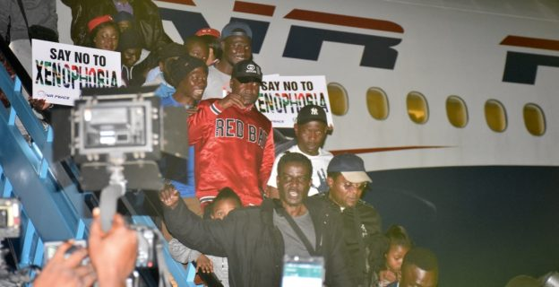 South African returnees at Lagos airport