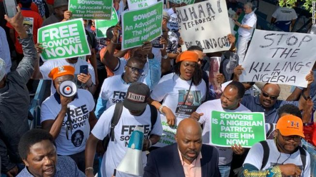 'My children missing their father' — Sowore's wife leads anti-Buhari protest at UN