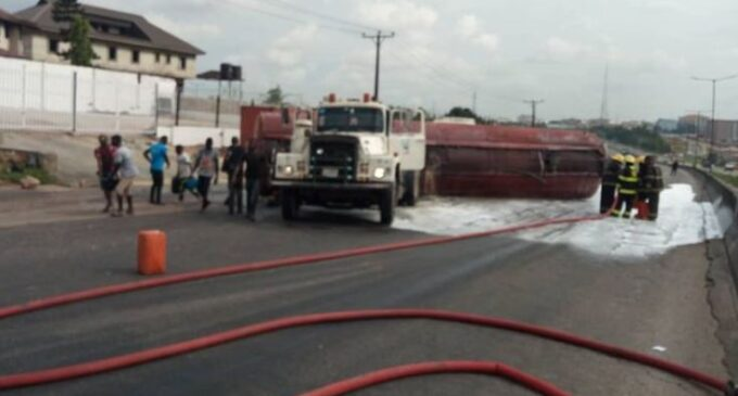 Gridlock as diesel-laden tanker falls on Otedola Bridge, Berger