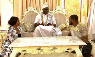 Teddy A and Bambam, ex-BBNaija housemates, visit ooni of Ife