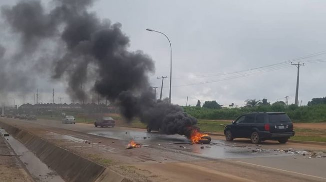 MTN office attacked in Abuja as mob lights bonfires at Shoprite outlet