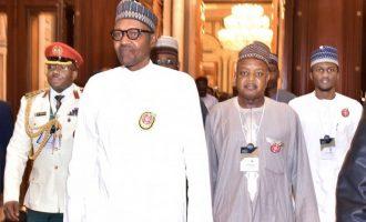 PHOTOS: Buhari, son, Kebbi gov on first day of Saudi summit