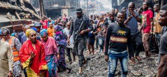 PHOTOS: Sadiya Umar Farouq visits Onitisha fire scene