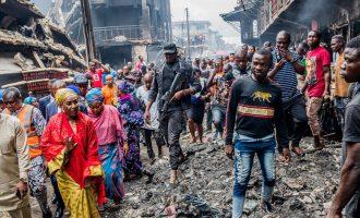 PHOTOS: Sadiya Umar Farouq visits Onitsha fire scene