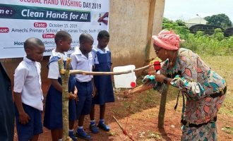 'Who did we offend' — reactions as Enugu first lady constructs tippy taps for primary school pupils