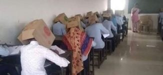 Students made to wear boxes on their heads during exam to prevent cheating