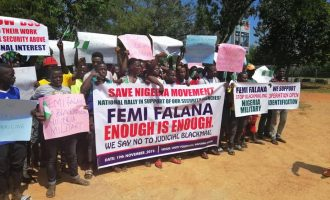 PHOTOS: Protest in Abuja against Falana for criticising security agencies