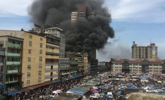 Policeman killed as burning building collapses in Lagos