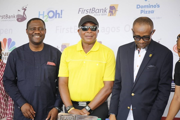 L-R: Osahon Ogieva, head, communications and other conglomerates of FirstBank; Babatunde Johnson, Golf Captain; Oze. K. Oze, FirstBank, head, sponsorship, event and content management, at Ikoyi Golf Club 1938 in Lagos on Friday