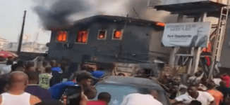 Two injured as fire guts building in Lagos
