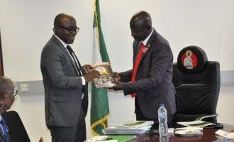 PHOTOS: Magu receives Waziri Adio at EFCC HQ