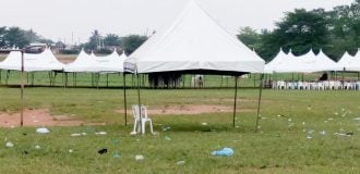 PHOTOS: Empty canopies at venue of suspended APC mega rally in Edo