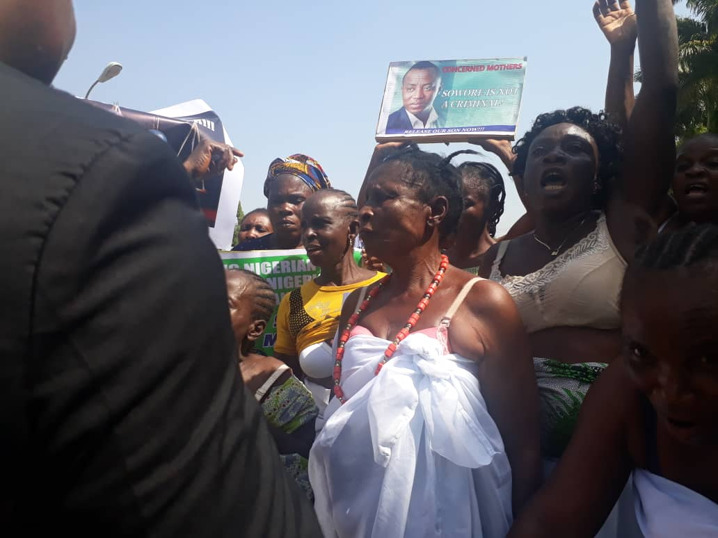 Elderly women strip to underwear to demand Sowore's release