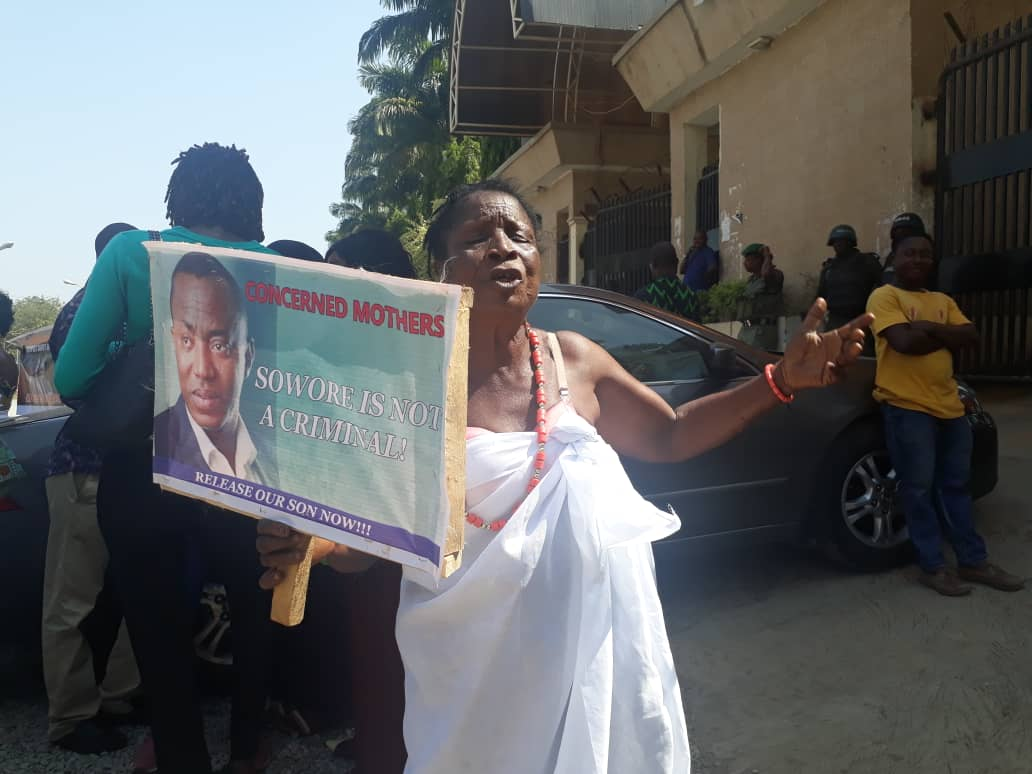 convener of the #RevolutionNowprotest. This is coming two days afterSowores mother called on mothers across the country to speak up against theunlawful detention of her son. The old women were seen holdingplacards with inscriptions such as Sowore is not a criminal and respectcourt order. Most of them spoke in theirnative dialect. Sowore has been in custody of theDSS since August 3 despite being granted bail twice. Below are the photos. Signup for FREE news updates