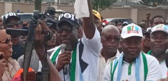 Ize-Iyamu dares Obaseki, holds defection rally at his residence
