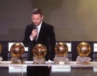 Ronaldo missing as Messi wins record 6th Ballon d'Or