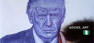 SPOTLIGHT: Oyedele Isaac — Nigeria's Trump-endorsed ballpoint artist who intends to 'dominate the art world'