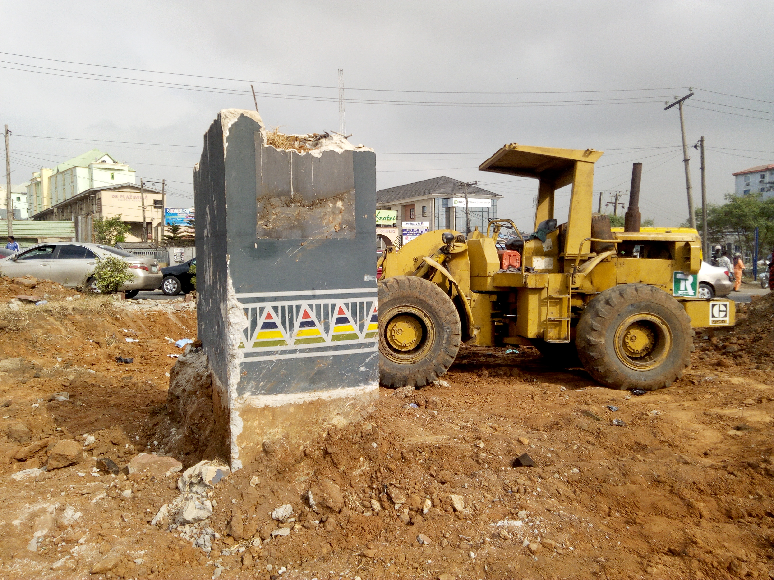 The site where Fela's statue is being pulled down
