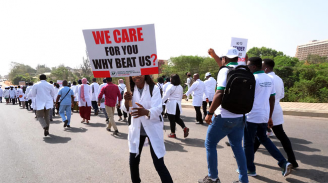 Doctors hit the streets over stripping of female colleague by patient's family in Abuja