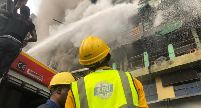 Four-storey building collapses as fire breaks out at Lagos market