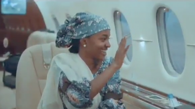 Amid backlash, Aisha Buhari tweets video of daughter waving inside presidential jet