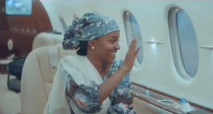 Amid backlash, Aisha Buhari tweets video of daughter waving inside presidential jet