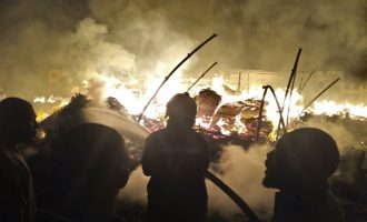 Fire guts timber market in Lagos