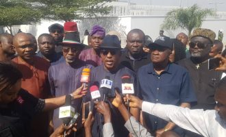 Abaribe, Secondus lead protest to US embassy over sack of Ihedioha