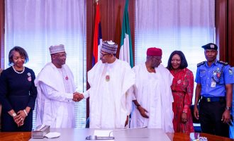 PHOTOS: INEC chairman leads his team to Aso Rock