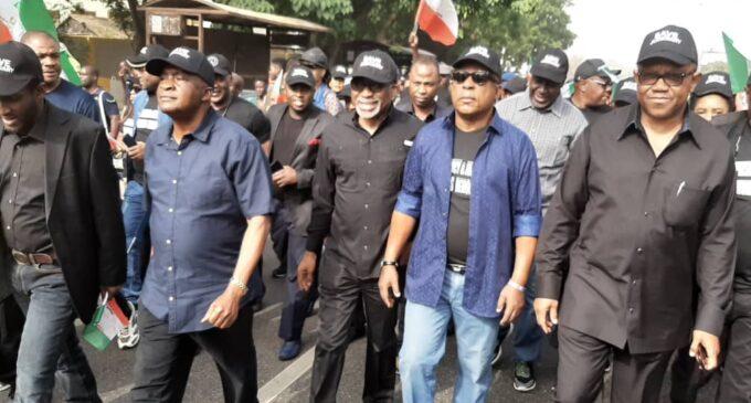 Secondus, Peter Obi lead protest against supreme court in Abuja