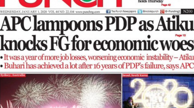 EXTRA: PUNCH missing as national dailies get advertorial from presidency