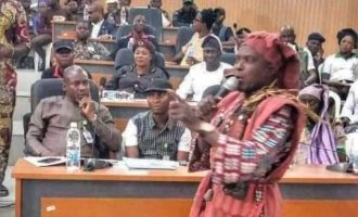 PHOTOS: Amotekun 'commander' storms Ekiti assembly in 'juju' regalia