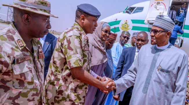 Boko Haram can't survive without local support, says Buhari as he departs Borno without visiting scene of attack