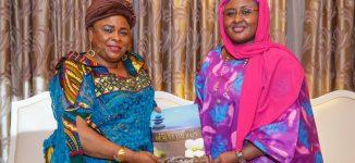 PHOTOS: Patience Jonathan visits Aisha Buhari at Aso Rock