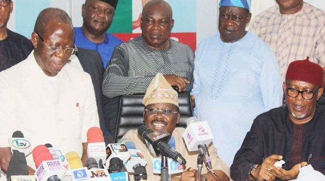 Oshiomhole pleadsfor forgiveness,asks aggrieved APC members to withdraw court cases