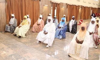 PHOTOS: Gombe traditional rulers keep 'social distance' at meeting with governor