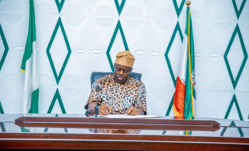 PHOTOS: Makinde clad in leopard-print attire as he signs Amotekun bill into law