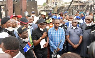 PHOTOS: Sanwo-Olu visits scene of gas explosion, condoles with victims