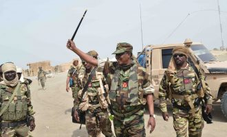 PHOTOS: Chadian president leads soldiers to capture Boko Haram's 'arms store' in Sambisa