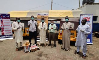 Simba TVS donates food and safety equipment to keke riders nationwide