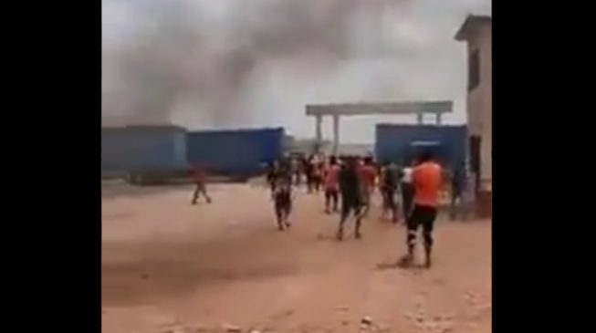 VIDEO: Workers protest against Chinese company in Ogun 'for locking them in'