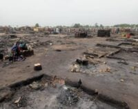 PHOTOS: One dead, many injured as fire razes IDP camp in Borno