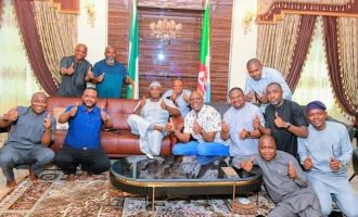 PHOTOS: Social distancing ignored as Yahaya Bello, aides celebrate tribunal victory