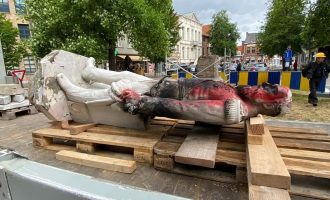 Statue of late Belgian king pulled down during protest triggered by George Floyd's death