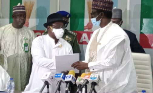 Giadom hands over leadership of APC to Buni