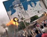 Angry protesters burn Buhari's billboard in Katsina
