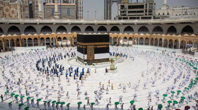 PHOTOS: Social distancing as pilgrims arrive Makkah for 2020 hajj