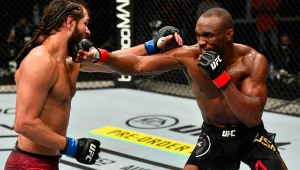 Action images from Kamaru Usman's UFC bout with Masvidal